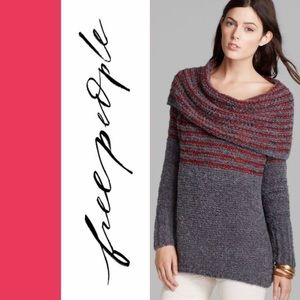 Free People Engineer striped oversized sweater